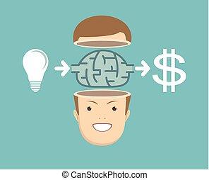 businessman Creates money from the idea