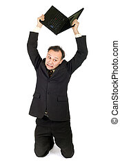 businessman crisis - very upset businessman breaking his...