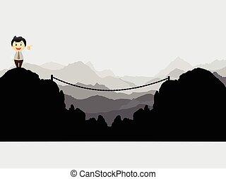 Businessman cross the risk bridge to success - Vector