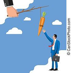 businessman., crosse, carotte, main