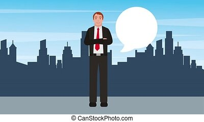 businessman crossed arms talking with city background
