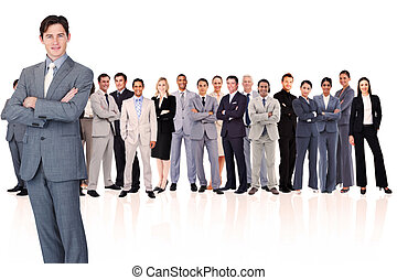 Businessman crossing his arms
