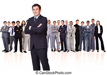 Businessman crossing his arms while standing