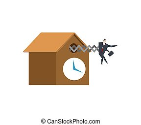 Businessman cuckoo in clock. Watch for boss . office life...