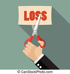 Businessman cut loss paper