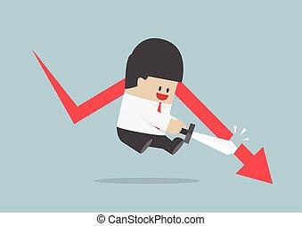 Businessman cut the falling graph, Stock market, Financial concept