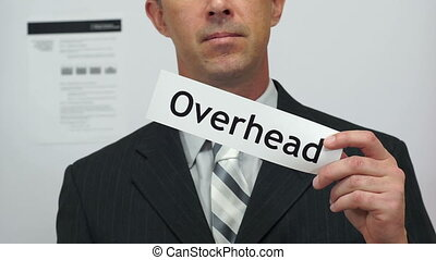 Businessman Cuts Overhead Concept - Male office worker or...