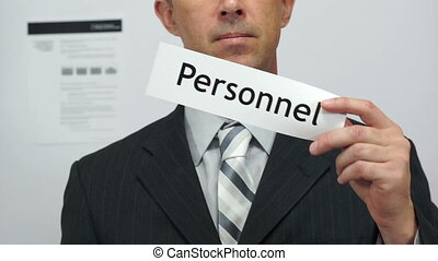 Businessman Cuts Personnel Concept - Male office worker or...