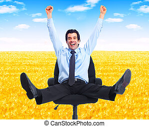 businessman., délassant, heureux