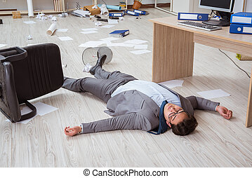 Businessman dead on the office floor