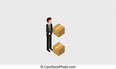 businessman delivery service - businessman with stacked...