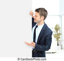 Businessman demonstrates