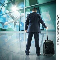 Businessman departing