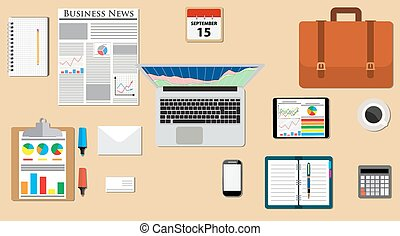 Businessman desk with laptop