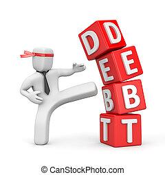 Businessman destroying the pyramid of debt