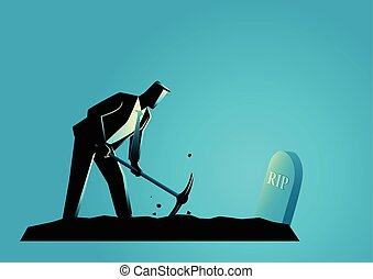 Businessman digging his own grave