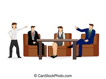 Businessman disagreeing with each other. Arguing and debating during office negotiations. Vector illustration.