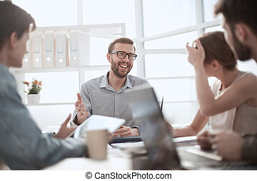 businessman discussing with business team ideas for startup