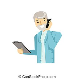 Businessman Discussing Work On Smartphone, Part Of People Speaking On The Mobile Phone Series. Cartoon Character Talking To The Cell Phone Portrait Flat Illustration.