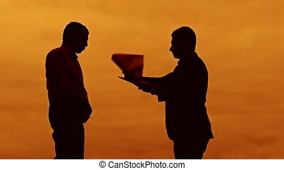 businessman discussion sunset evil boss silhouette sunlight...