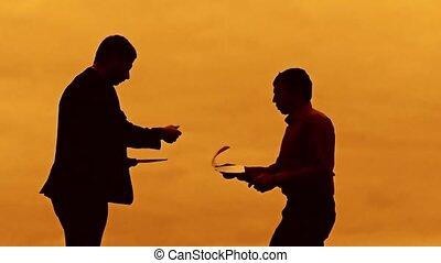 businessman discussion sunset silhouette evil boss sunlight...