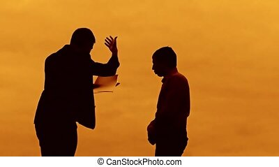 businessman discussion sunset silhouette sunlight evil boss...