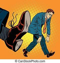 Businessman dismissal pop art retro comic book vector...