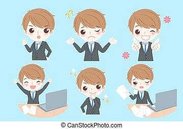 businessman do different emotion - Set of cute cartoon...