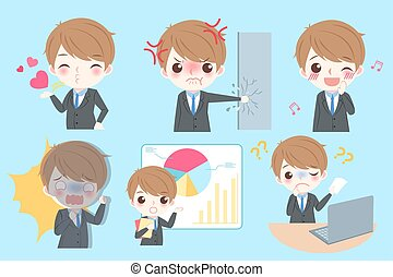 businessman do different emotion - Set of cute cartoon...