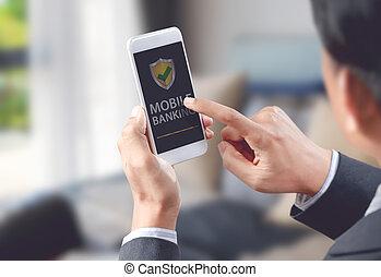 Businessman do online banking on mobile, digital technology concept