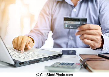 businessman do online shopping with credit card