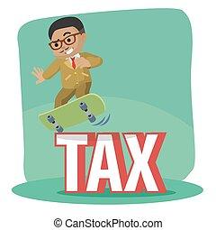 businessman dodge tax with skateboard
