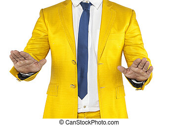 businessman does gesture calm down