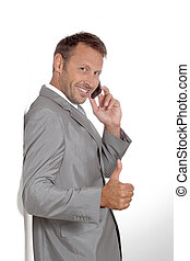 Businessman doing expressions on white background