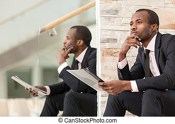 Businessman doing paper work