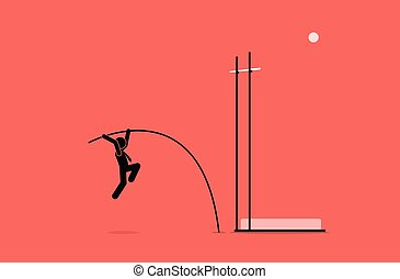 Businessman doing pole vault.