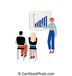 Businessman Doing Presentation to Group of People, Training of Office Staff, Teamwork, Business Meeting Vector Illustration
