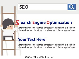 Businessman doing Search Engine Optimization or SEO, VECTOR,...