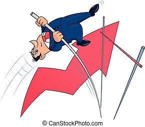 Businessman doing the pole vault 4