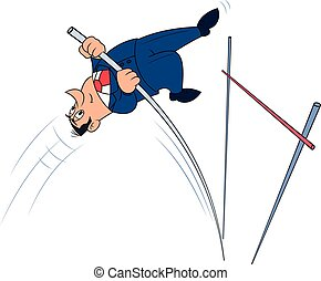 Businessman doing the pole vault