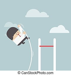 Businessman doing the pole vault