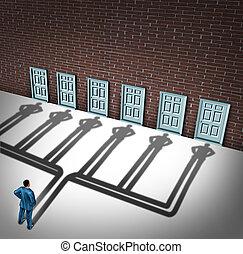 Businessman Door Choice - Businessman door choice concept as...