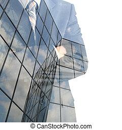 Businessman. Double exposure