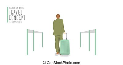 Businessman dragging a suitcase at the airport banner flat vector.