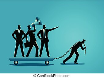 Businessman dragging his bossy coworkers - Business concept...