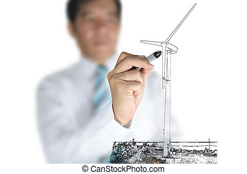 Businessman draw Turbine power generator