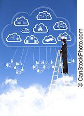 Businessman drawing  a cloud computing applications concept