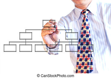 businessman drawing a flowchart on a whiteboard (selective focus)