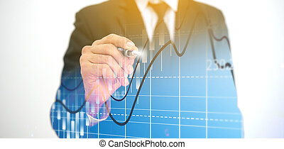 Businessman drawing a graph. Business Growth concept