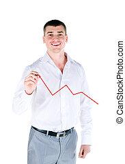 Businessman drawing a graph
